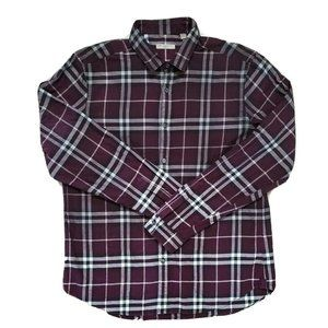 Burberry Brit Mens Burgundy Plaid Shirt Size XL